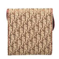 Dior Canvas Brown/Beige Canvas and Leather Rasta Saddle Compact Wallet