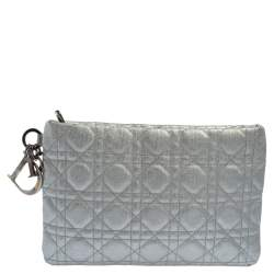 Dior Silver Cannage Coated Canvas Panarea Clutch