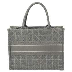 Dior Grey Cannage Canvas Small Book Tote