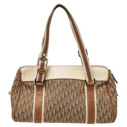 Dior Beige/Brown Oblique Canvas and Leather Street Chic Boston Bag
