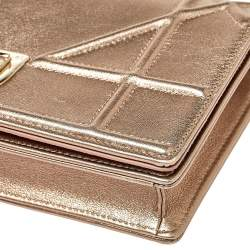 Dior Metallic Rose Gold Leather Diorama Wallet on Chain