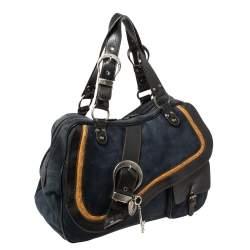 Dior Navy Blue Suede and Leather Large Double Saddle Shoulder Bag
