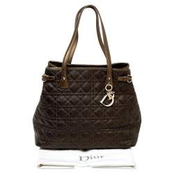Dior Dark Olive Green Cannage Coated Canvas and Leather Medium Panarea Tote