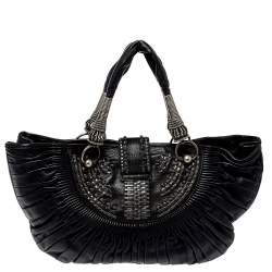Dior Black Pleated Leather Plisse Tote
