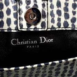 Dior White/Black Python Top Handle Bag