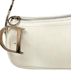Dior White Leather Pochette Shoulder Bag