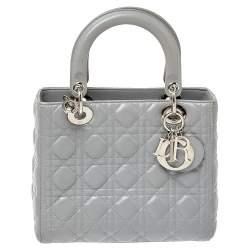 Dior Grey Cannage Leather Medium Lady Dior Tote