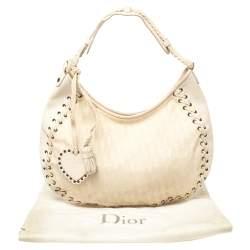 Dior Cream Oblique Canvas and Leather Ethnic Hobo