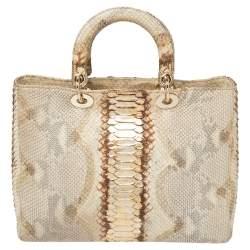 Dior Beige/Gold Python Large Lady Dior Tote