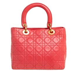 Dior Coral Cannage Leather Lady Dior Tote