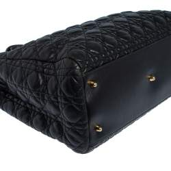 Dior Black Cannage Quilted Leather Large Shopper Tote