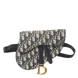 Dior Blue Oblique Canvas and Leather Saddle Belt Bag