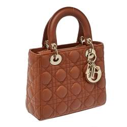 Dior Brown Leather Small Lady Dior Tote