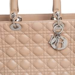 Dior Beige Cannage Leather Large Lady Dior Tote
