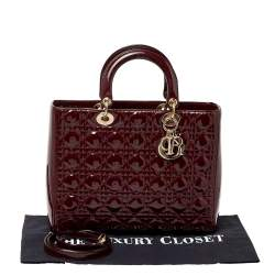 Dior Burgundy Cannage Patent Leather Large Lady Dior Tote