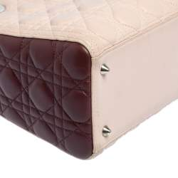 Dior Tri Color Leather Medium Lady Dior Tote