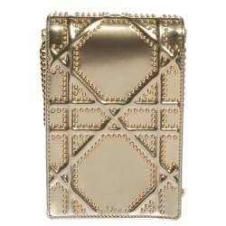 Dior Metallic Gold Glossy Leather Studded Diorama Vertical Clutch