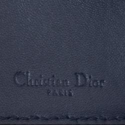 Dior Metallic Blue Micro Cannage Leather Lady Dior Compact Wallet