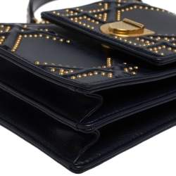 Dior Navy Blue Leather Studded Diorama Vertical Chain Clutch