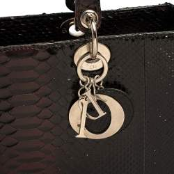 Dior Black Ombre Python Large Lady Dior Tote