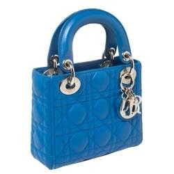 Dior Blue Cannage Leather Mini Lady Dior Tote