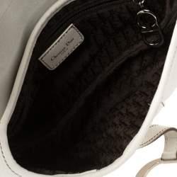 Dior White Leather Saddle Bag