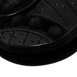 Dior Black Velvet/Nylon and Leather Vintage Pom Pom Embellished Saddle Bag