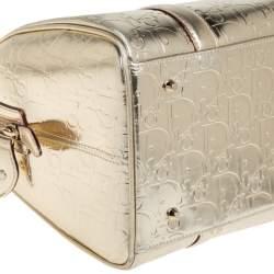 Dior Metallic Metallic Gold Oblique Monogram Leather Boston Bag