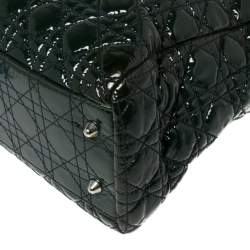 Dior Green Cannage Quilted Soft Patent Leather Large Shopping Tote