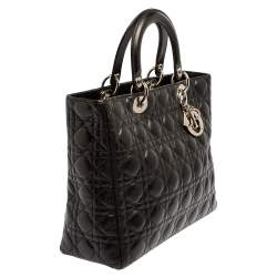 Dior Black Cannage Leather Large Lady Dior Tote