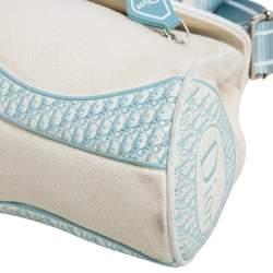 Dior Blue/White Canvas Flap Baguette