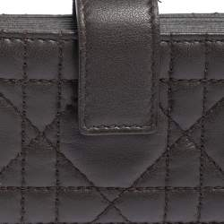 Dior Dark Brown Cannage Leather Gusset Card Holder