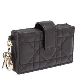 Dior Dark Brown Cannage Leather Gusset Card Holder