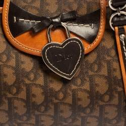 Dior Brown Oblique Coated Canvas and Leather Romantique Heart Trotter Satchel