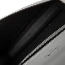 Dior Grey Crackled Patent Leather Medium Diorama Shoulder Bag