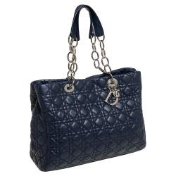 Dior Navy Blue Cannage Leather Soft Lady Dior Shopper Tote