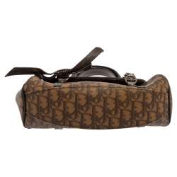 Dior Brown Diorissimo Coated Canvas and Leather Flap Romantique Satchel