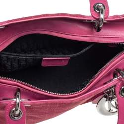 Dior Pink Cannage Suede And Leather Medium Lady Dior Tote