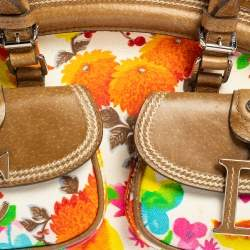 Dior Multicolor Floral Fabric and Leather Detective Satchel