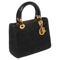 Dior Black Cannage Fabric Medium Lady Dior Tote