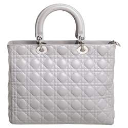 Dior Grey Cannage Lambskin Leather Large Lady Dior Tote