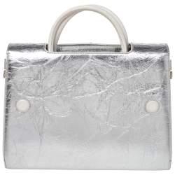 Dior Metallic Silver Leather Medium Diorever Bag