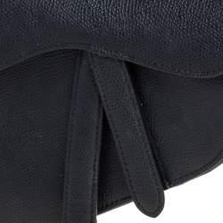 Dior Black Leather Mini Saddle Bag