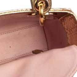 Dior Metallic Gold Python Mini Lady Dior Tote