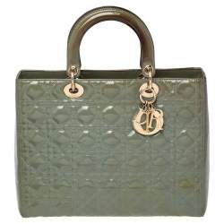 Dior Green Cannage Patent Leather Large Lady Dior Tote