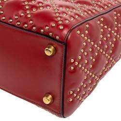 Dior Dark Red Leather Medium Studded Supple Lady Dior Tote
