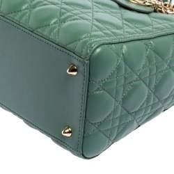 Dior Green Cannage Leather Medium Lady Dior Tote