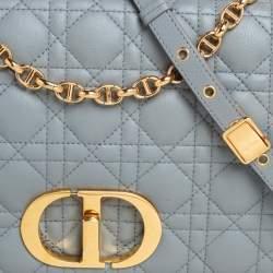 Dior Grey Supple Cannage Leather Large Caro Shoulder Bag