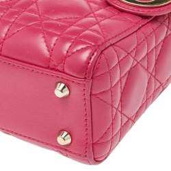 Dior Pink Cannage Leather Mini Chain Lady Dior Tote