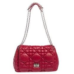 Dior Red Cannage Soft Leather Milly La Forêt Shoulder Bag